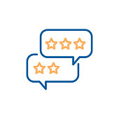 Speech bubbles with customer feedback. Vector thin line icon with chat balloons and stars. Business service testimonial, rate, review, quality.