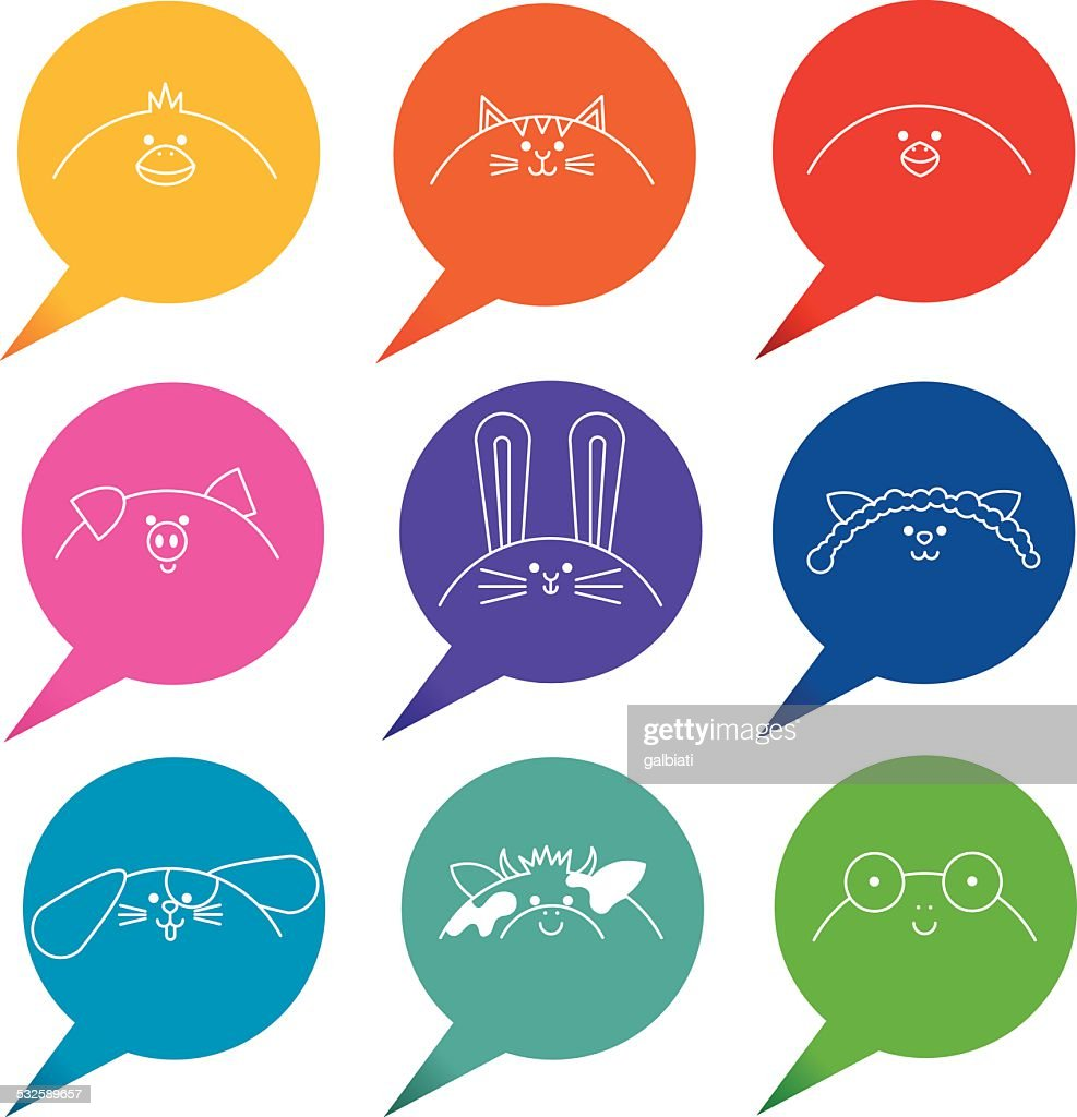 Speech Bubbles With Farm And Domestic Animals Icons High-Res