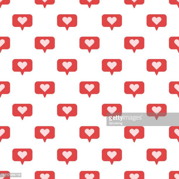 speech bubbles with heart seamless vector pattern - cute mouse stock illustrations