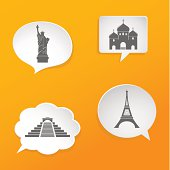 Speech bubbles with landmarks signs