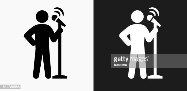 speech icon on black and white vector backgrounds - political rally stock illustrations, clip art, cartoons, & icons