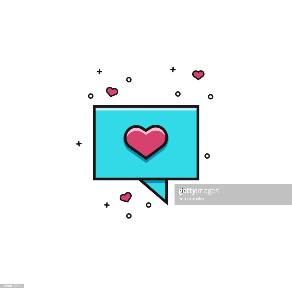 Speech Rectangle Bubble With Heart Flat Color Line Icon Comic