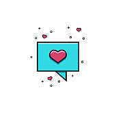 Speech rectangle bubble with heart - flat color line icon. Comic balloon sign for messaging, texting or chatting. Dialog box symbol for social media applications and dating services.