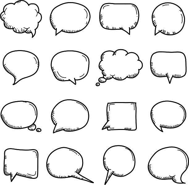 speech - pencil drawing stock illustrations