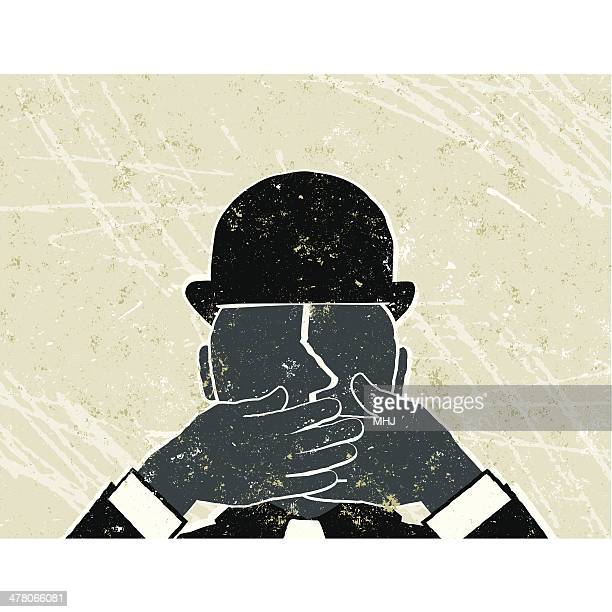 speechless! businessman with hands over his mouth - careless stock illustrations, clip art, cartoons, & icons