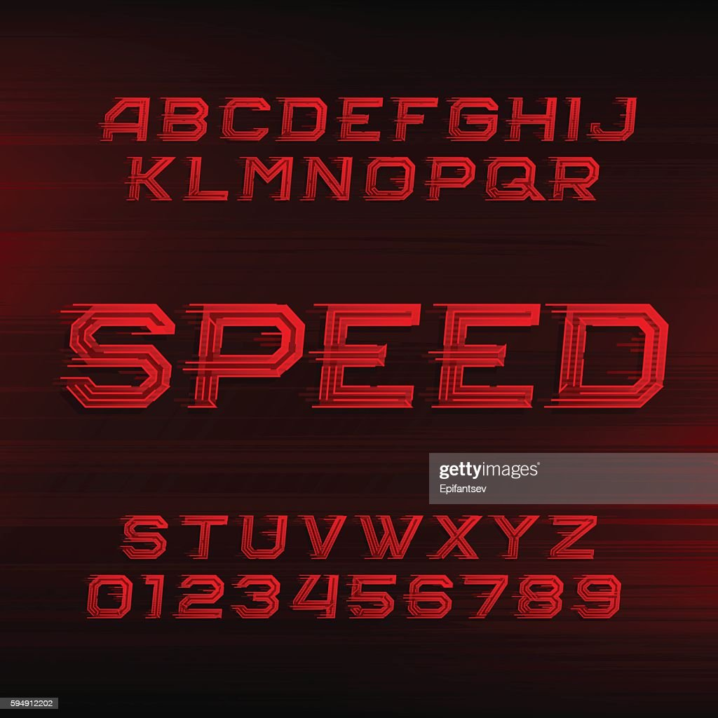 Speed alphabet font