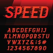 Speed alphabet vector font.