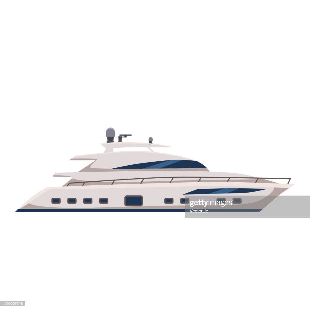 Speed boat, yacht, cartoon style, vector illustration, isolated