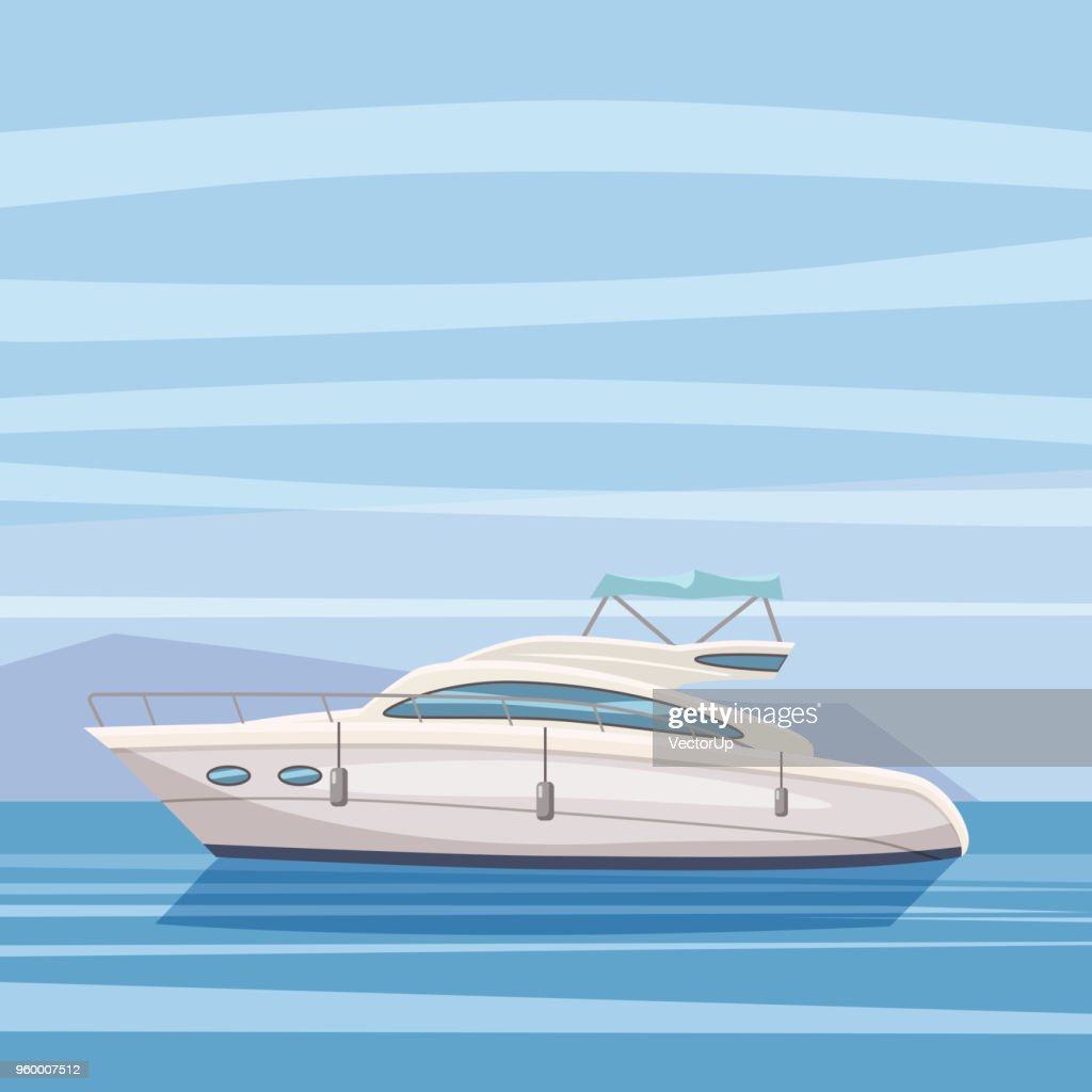 Speed boat, yacht on seascape background, cartoon style, vector illustration, isolated