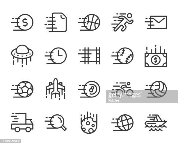 speed concept - line icons - pool ball stock illustrations