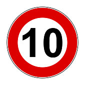 Speed limit signs of 10 km - stock vector