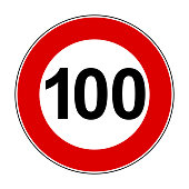 Speed limit signs of 100 km - stock vector