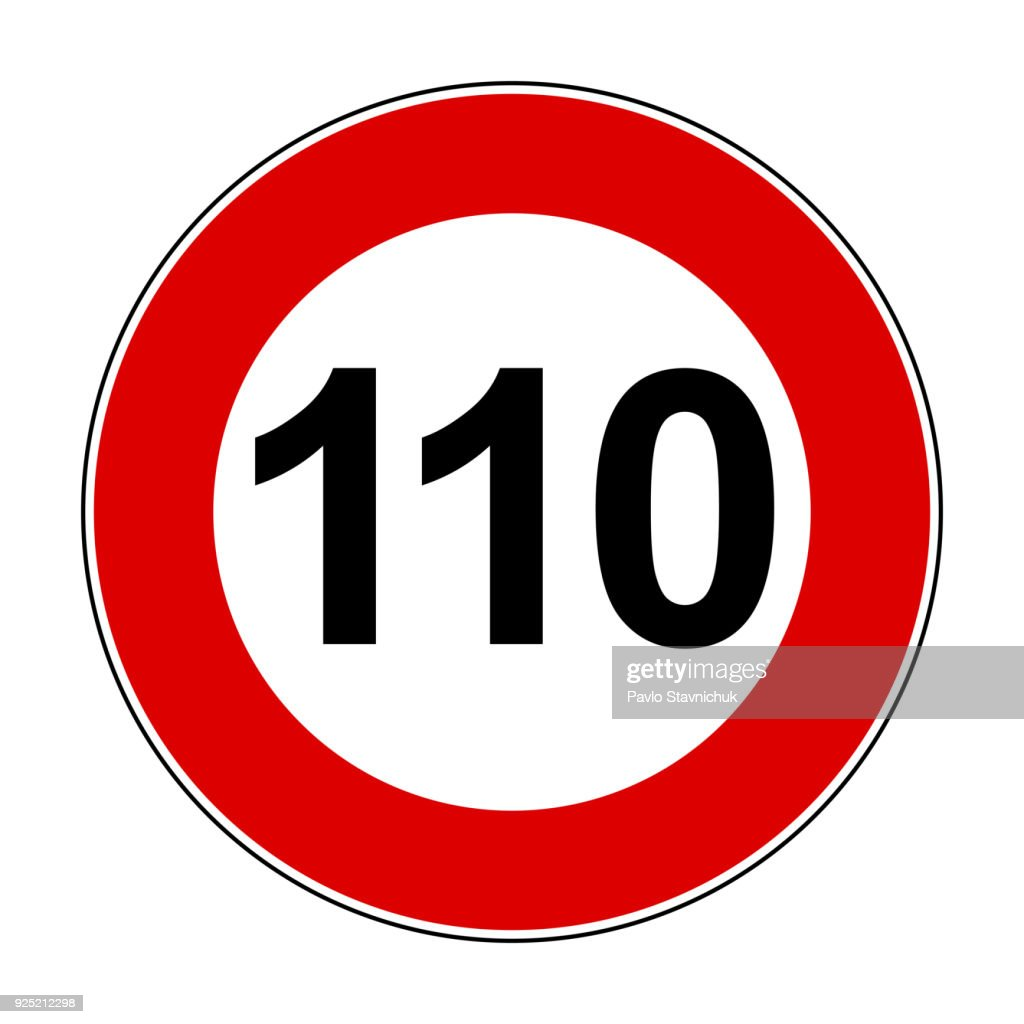 Speed limit signs of 110 km - stock vector