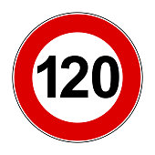 Speed limit signs of 120 km - stock vector