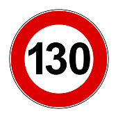 Speed limit signs of 130 km - stock vector