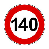 Speed limit signs of 140 km - stock vector