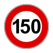 Speed limit signs of 150 km - stock vector