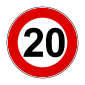 Speed limit signs of 20 km - stock vector