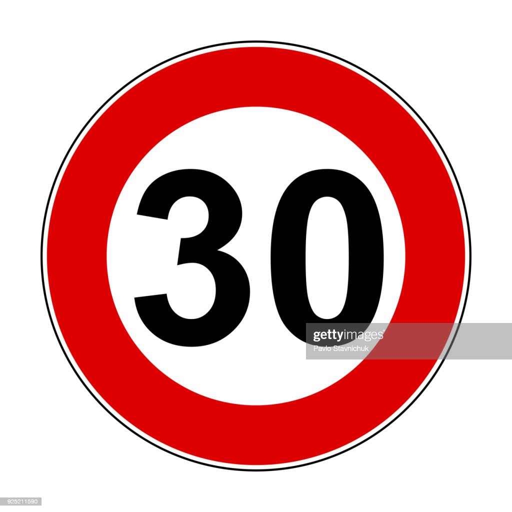 Speed limit signs of 30 km - stock vector