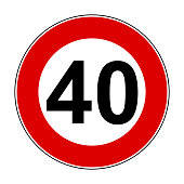 Speed limit signs of 40 km - stock vector