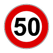 Speed limit signs of 50 km - stock vector