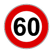 Speed limit signs of 60 km - stock vector