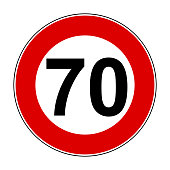 Speed limit signs of 70 km - stock vector