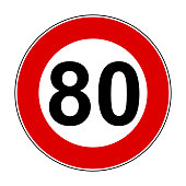 Speed limit signs of 80 km - stock vector