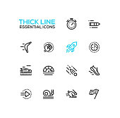 Speed - modern vector single thick line icons set