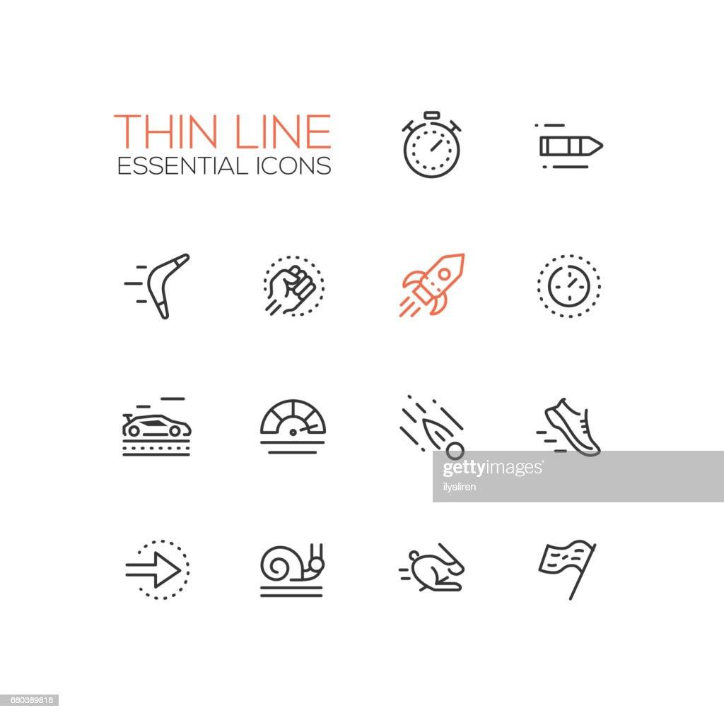Speed - modern vector single thin line icons set