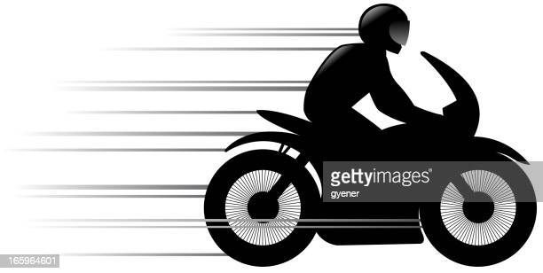 speed motorcycle silhouette - motorcycle helmet stock illustrations, clip art, cartoons, & icons