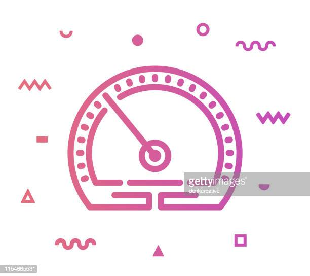 speed test line style icon design - letrac stock illustrations