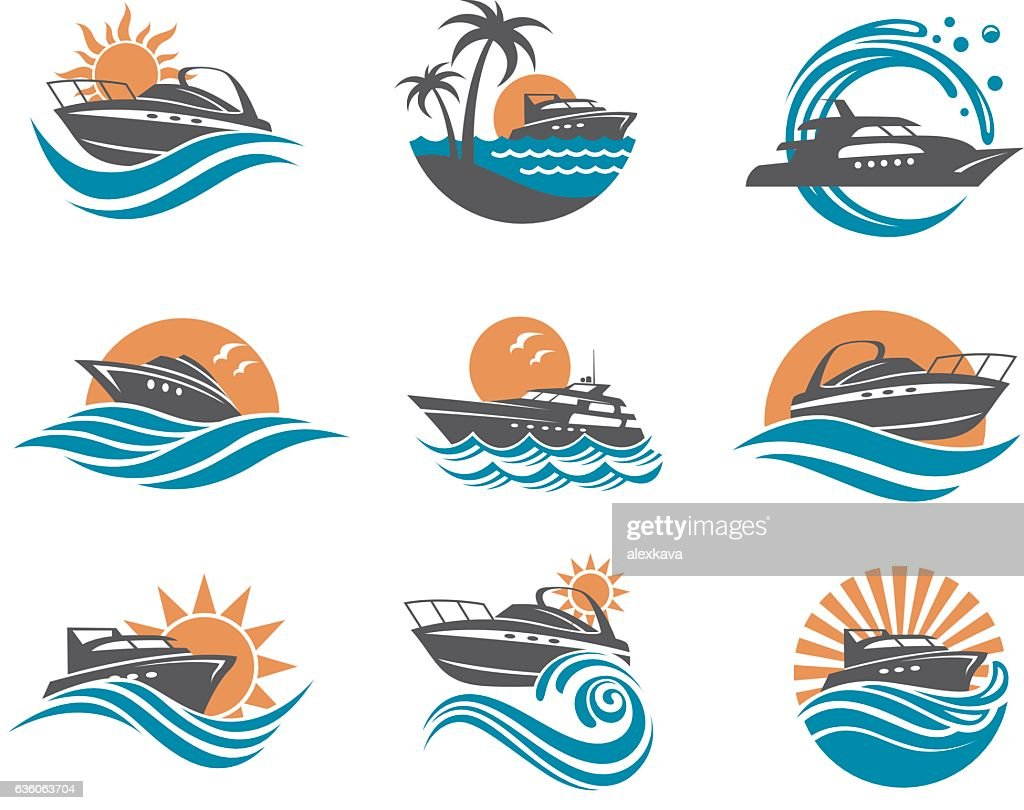 speedboat and yacht icons