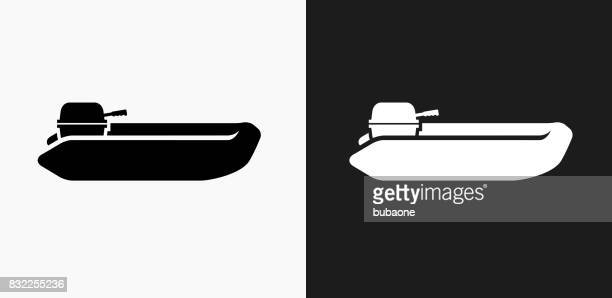 Speedboat Icon on Black and White Vector Backgrounds