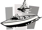 Speedboat Water Skiing