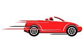Speeding convertible car vector icon