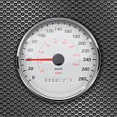 Speedometer. 40 km per hour. Car dashboard gauge on metal perforated background