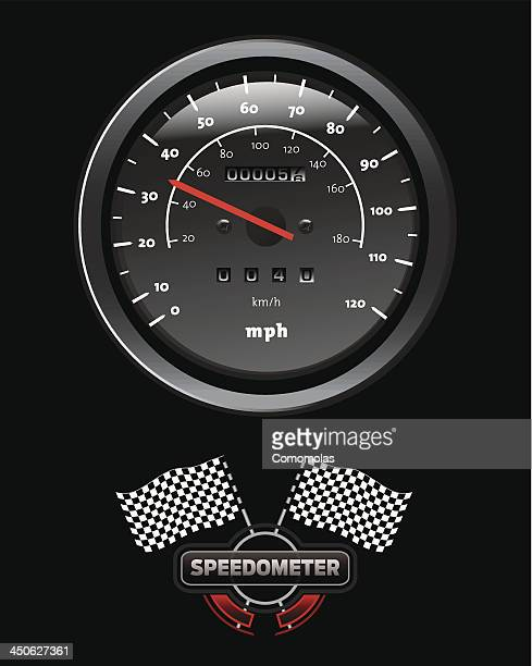 speedometer and race flag - odometer stock illustrations, clip art, cartoons, & icons