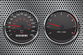 Speedometer and tachometer on metal perforated background. 50 km per hour
