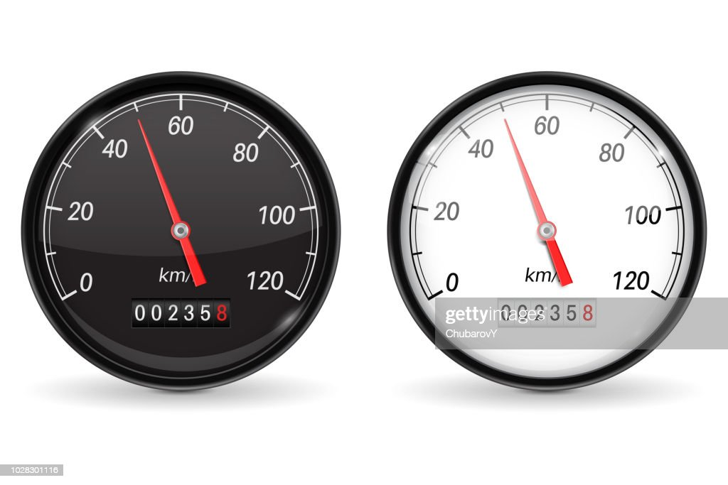 Speedometer. Black and white speed gauge with metal frame. 50 km per hour