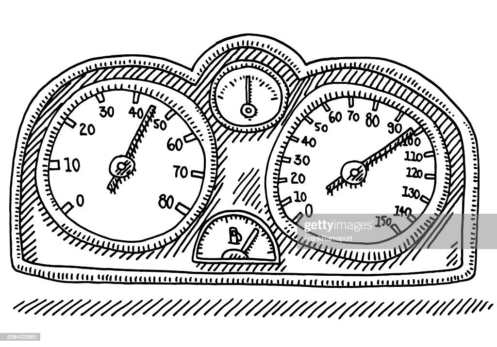 speedometer car part gauge drawing vector art