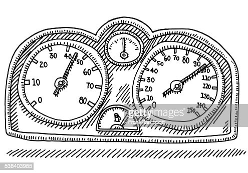 Speedometer Car Part Gauge Drawing Stock Illustration
