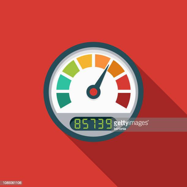 Speedometer Flat Design Car Service Icon Stock Illustration