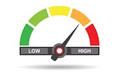 Speedometer flat icon. Sign colorful speedometer. Vector logo for web design, mobile and infographics