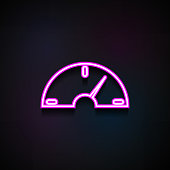 speedometer icon. Element of Minimalistic  icons for mobile concept and web apps. Neon speedometer icon can be used for web and mobile