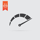 Speedometer icon in flat style isolated on grey background.