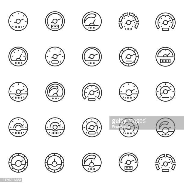 speedometer icon set - letrac stock illustrations