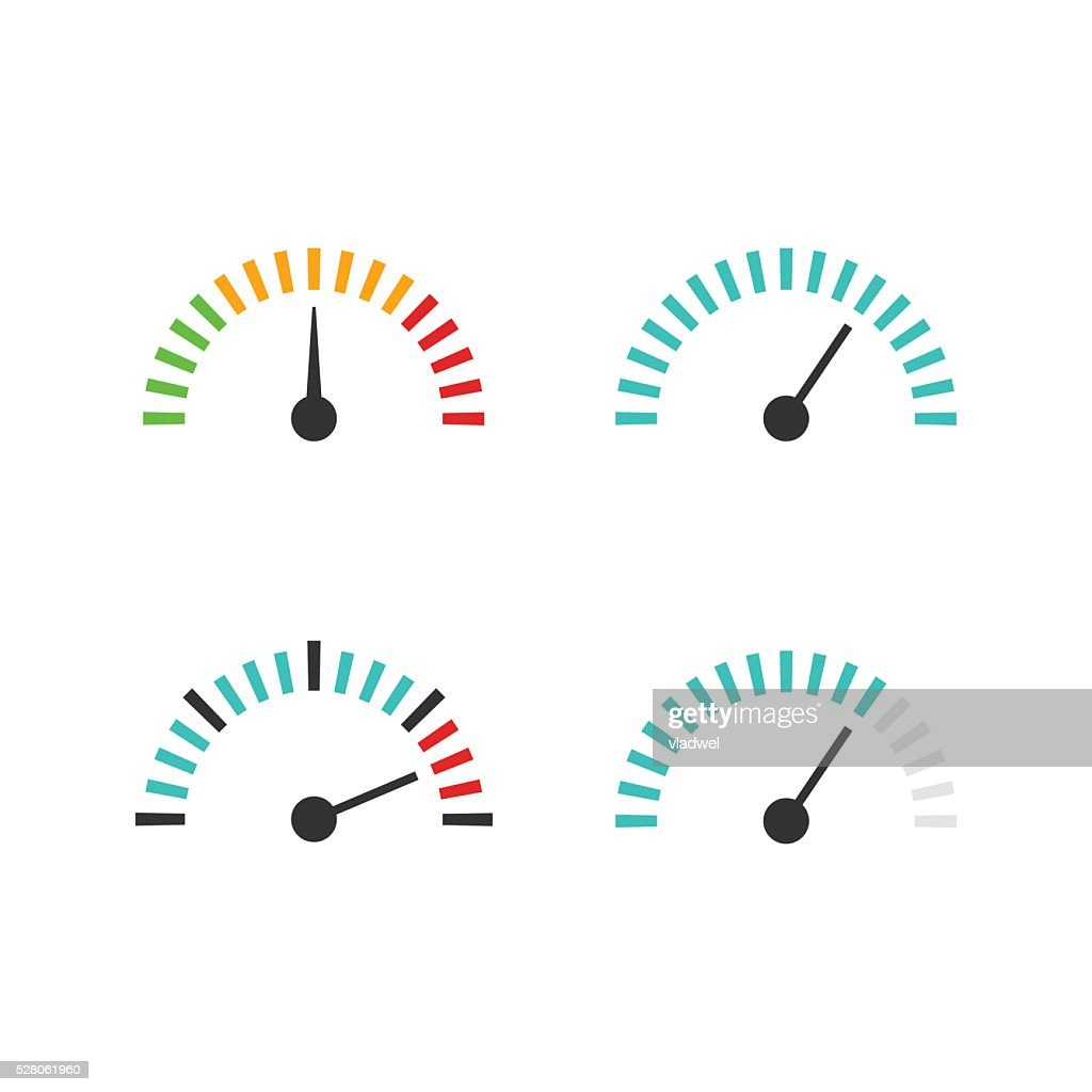 Speedometer icon set vector illustration, speed control measure element
