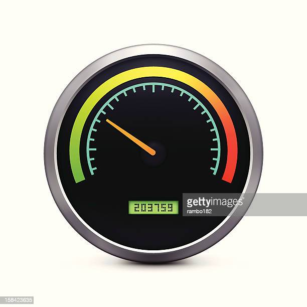 speedometer icon - odometer stock illustrations, clip art, cartoons, & icons