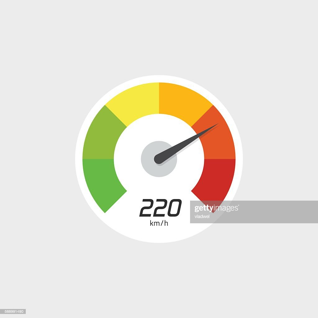 Speedometer icon vector isolated with speed indicator